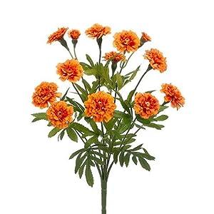 Afloral Marigold Silk Flower Bush in Orange
