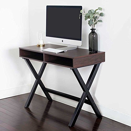 Nathan James 51001 Kalos Home Office Computer Desk Or Console Table, For Small Spaces, Rustic Espresso Brown and Black - Secretary Wood Desk