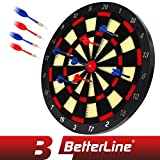 BETTERLINE Soft Tip Dart Board Game Set - 18 Inch Board (45.5cm) with 6 Darts - Child & Furniture Safe Dartboard for Kids & Adults