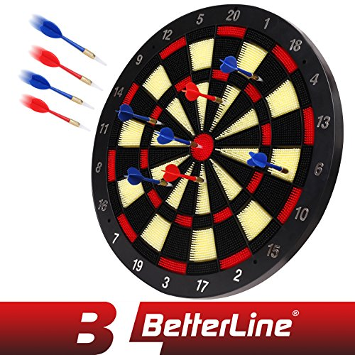 BETTERLINE Soft Tip Dart Board Game Set - 18 Inch Board (45.5cm) with 6 Darts - Child & Furniture Safe Dartboard for Kids & ()