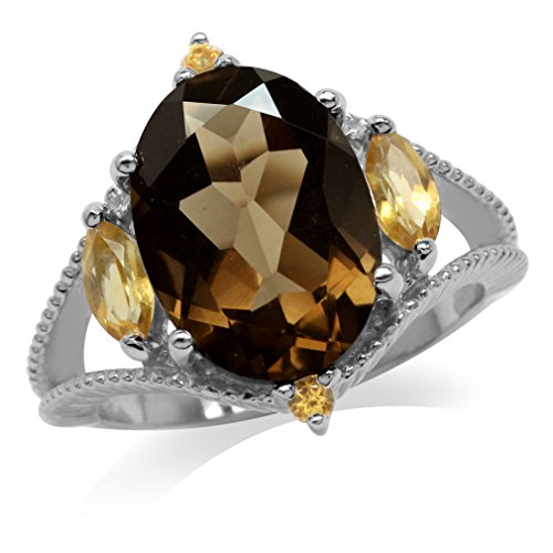 (5.37ct. Natural Smoky Quartz & Citrine White Gold Plated 925 Sterling Silver Ring Size 8)