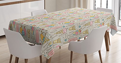 Pink Ice Cream Dots - Kitchen Tablecloth by Ambesonne, Decoration for Kitchen Ice Cream and Bonbons Polka Dots on the Background, Dining Room Kitchen Rectangular Table Cover, 52W X 70L Inches, Beige and Light Pink