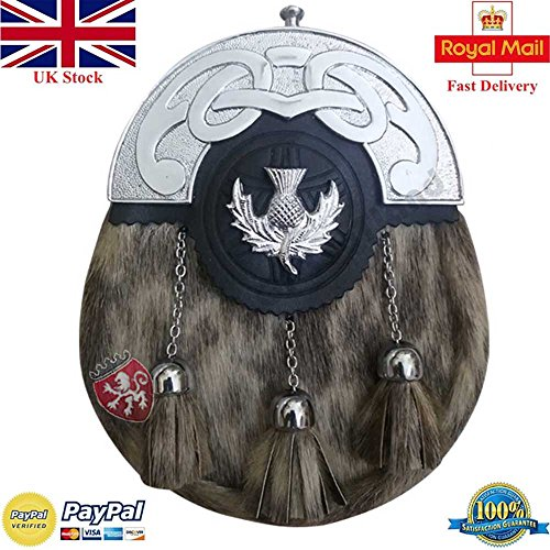 (Scottish Full Dress Kilt Sporran Leather Formal Seal Skin Celtic Cantle Chrome Finish/Highland Sporrans (Kilt Sporran Thistle Heritage))