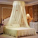 Petforu Mosquito Net Dome, Princess Bed Canopies Netting Elegant Lace with 2 Butterflies for decor - Yellow