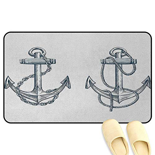 Anchor Rug Mat Welcome Doormat Vintage Sketch Nautical Element Ship Sailing Travel Theme Artistic Chain Rope Dark Teal White Hard Floor Protection W16 x L24 - Rug Vintage Kelly