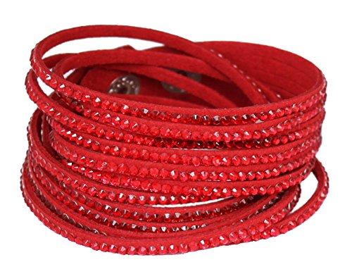 Red Velvet Rhinestone (Sophistikitty Velvet wrap bracelet with Rhinestones - Red)