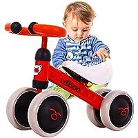 Baby Balance Bike, Ride On Bikes, Children Bicycle, Sliding Bike 4 Wheel, Trike Toddler Walker Color Red 1-3 Years Old…