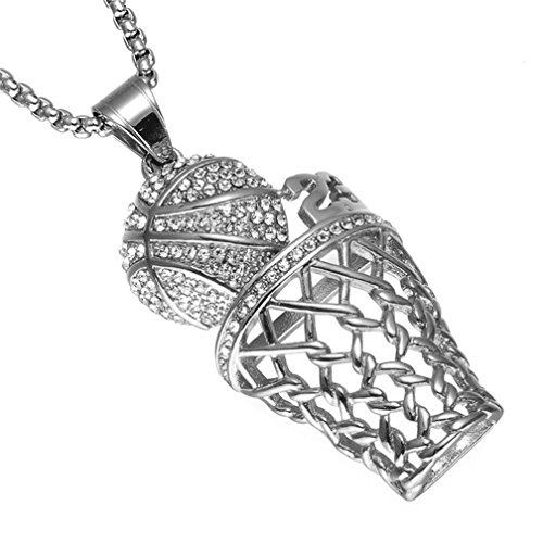 (SINLEO Men's Hip Hop Iced Out Diamond Mini Basketball Rim Pendant Charms Stainless Steel Necklace 24 Inch Chain Number 23 Silver)