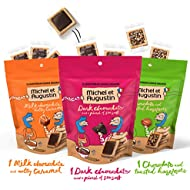 Michel et Augustin Bags Chocolate French Cookie Squares | 3 Pack | Variety Pack | 15 Shortbread Cookie Squares Per Bag