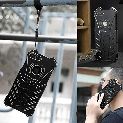 For iPhone 7 Plus Case, iPhone 8 Plus Case, (5.5 inch), R-JUST Batman Aluminum Shell Bumper Shockproof Tough Armor Metal Back Case Skin Protective Cover + Bat Kickstand (Fit for iPhone 7/8 Plus 5.5