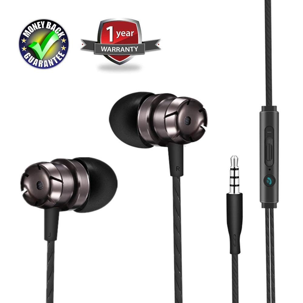 Earbuds Ear Buds Earphones in Ear Headphones Stereo with Microphone Mic and Volume Control Wired Waterproof for iPhone Samsung Android Smartphones Mp3 Players Tablet Laptop 3.5mm Audio (black) by ZBLLM