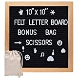 Letter Board 10x10 Inches, Changeable Letter Boards with 340 White Letters and Felt Letter Board with Stand for Classroom, Home, Office, Business (Black)