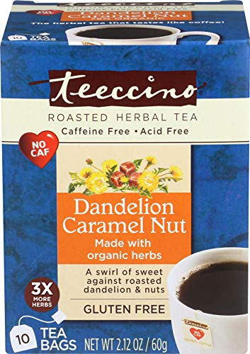 Caramel French Tea - Teeccino Dandelion Caramel Nut Chicory Herbal Tea Bags, Gluten Free, Acid and Caffeine Free, 10 Count