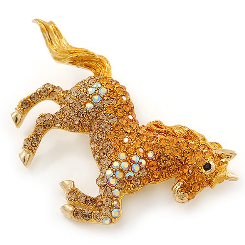 Orange Gold/ Citrine Pave Set Austrian Crystal 'Horse' Brooch In Gold Plating - 65mm Across by Avalaya (Image #5)