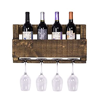 DAKODA LOVE - The Little Elm Wine Rack, USA Handmade Reclaimed Wood, Wall Mounted, 4 Bottle 4 Long Stem Glass Holder (Dark Walnut)