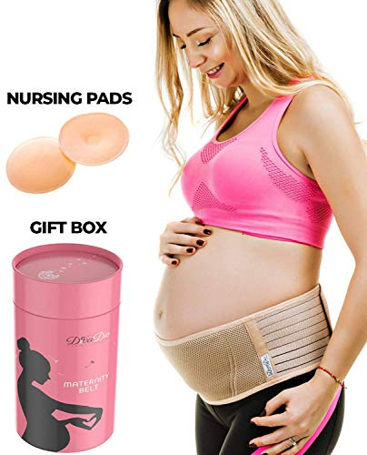 Maternity Belt Pregnancy Support Belt - Breathable Belly Band That Provides Hip, Pelvic, Lumbar and Lower Back Pain Relief, Bonus 2 Washable Nursing Pads by DivaDio (Gabrialla Elastic Maternity Belt)