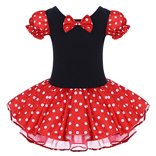 Minnie Costume Toddler Girl Dress Kids Black Vintage Polka Dot Flower 50s' Bow Tutu Ballerina Dance Wear Costumes Red Without 3D Ears 5-6 Years