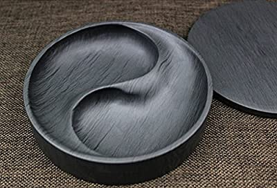 Easyou She Yan Taiji Ink Stone Chinese Calligraphy Round Inkstone Bagua Natural Stone Wavy