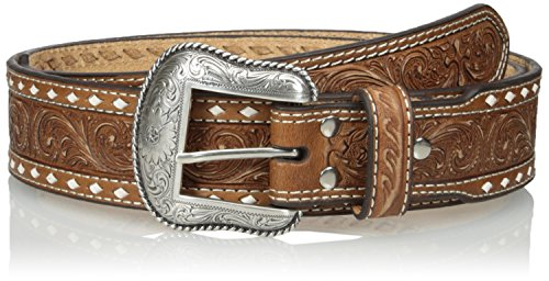 Nocona Men's Natural Wide Cross Buckstitch, Medium Brown, - Nocona Brown Belt