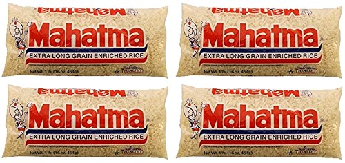 Mahatma Extra Long Grain Enriched Rice - Naturally Sodium Free & Fat Free - Net Wt. 16 OZ (454 g) Each - Pack of 4 by Mahatma