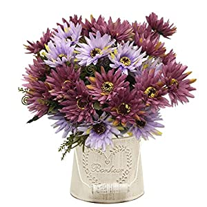 Artificial Chrysanthemum Flowers, Vintage Silk Herbaceous Daisy Fake Sunflowers Bouquet Home Bridal Wedding Hotel Office Party Garden Centerpieces Arrangements Simulation Craft Decoration Purple 4pcs 22