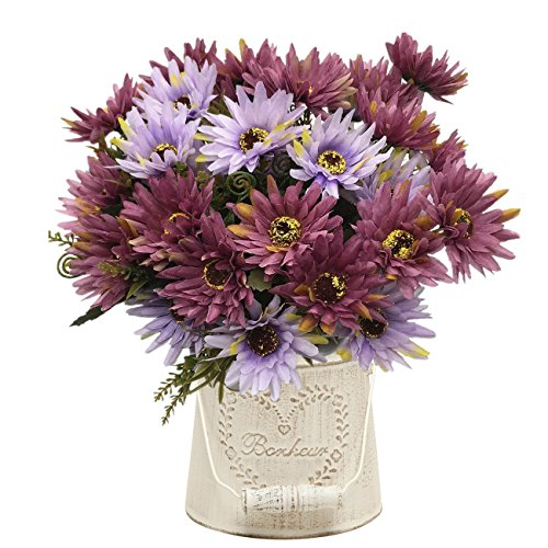 Artificial Chrysanthemum Flowers, Vintage Silk Herbaceous Daisy Fake Sunflowers Bouquet Home Bridal Wedding Hotel Office Party Garden Centerpieces Arrangements Simulation Craft Decoration Purple 4pcs