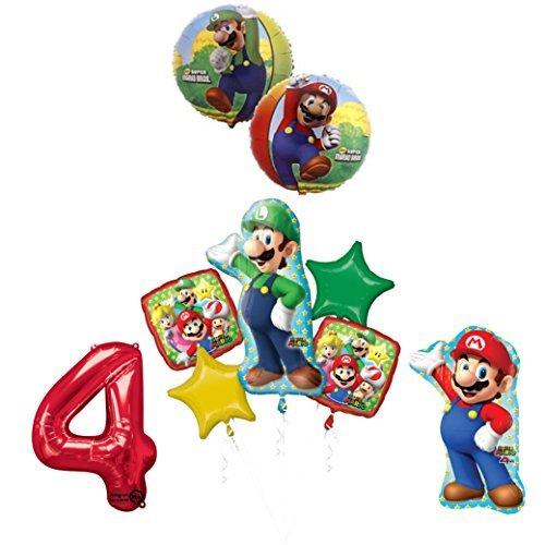 The ULTIMATE Super Mario Brothers and Luigi 4th Birthday Party Supplies Decorations -