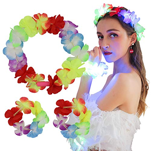 Fortuning's JDS Hawaii LED Flower Headband Bracelets for Wedding Party