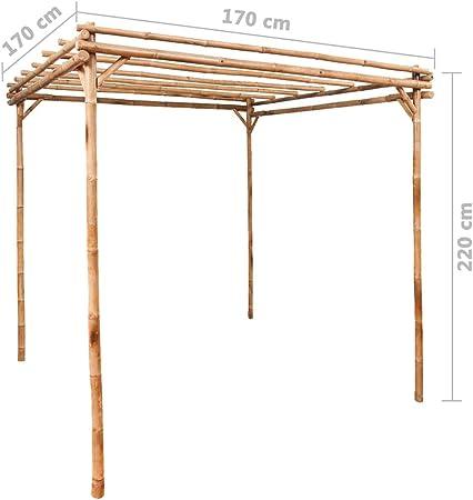 Benkeg Pérgola de Bambú 170X170X220 Cm Resistente a La Intemperie, Pérgola Terraza Pérgolas de Jardín Patio: Amazon.es: Hogar