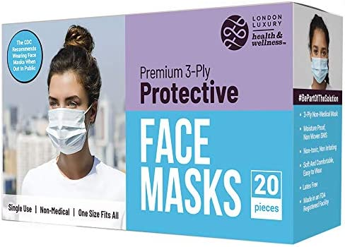 American Mask Group Premium Single Use Disposable 3-Ply Protective Face Masks - 20 Count Box - Lightweight Design, Cool and Comfortable