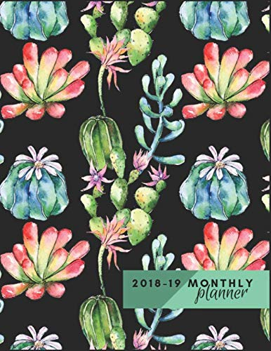 Monthly Planner 2018 To 19: Cactus and Succulents Planner Start September 2018 To December 2019 Calendar Monthly Agenda Schedule Organizer Journal Notebook. (16 Months Monthly Planner 2019)
