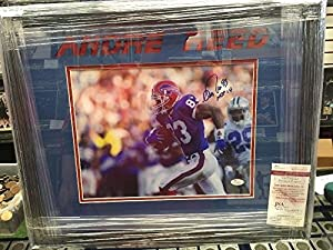Andre Reed Autographed 11x14 Framed Picture JSA Authentic Coa Bills Hof Inscription