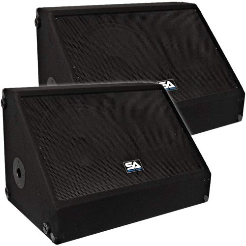 Seismic Audio - Pair of 12'' 500 Watts Floor Monitors Studio, Stage, or Floor use - PA/DJ Speakers