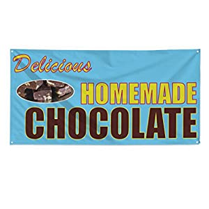 Delicious Homemade Chocolate Outdoor Fence Sign Vinyl Windproof Mesh Banner With Grommets - 2ftx3ft, 4 Grommets