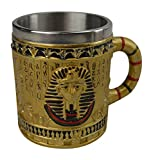 KW Collectible Gift Co.Gold Ancient Egyptian King Tut Pharaoh Coffee Mug Cup 3D Egypt Style Drinking Tankard Stein (TUT)