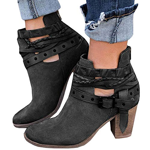 Women's Ankle Buckle Booties V Cut Stacked Heel Back Zipper Bohemia Weave Vintage Boots by LAICIGO