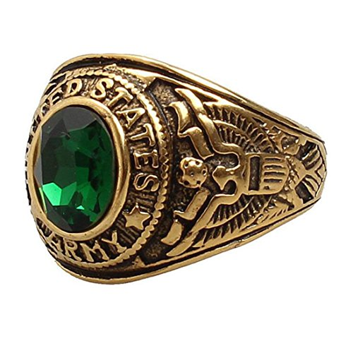 XIMAKA Men's US Army Guard Ring Casting Diamond Green/Red/Black Stones 18K Gold Ring,Green,Size 10