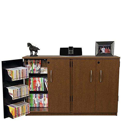 Double Door Cd Cabinet (Venture Horizon Double Multimedia TV Cabinet- Cherry)