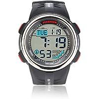 Teenagers Sport Watch | Multifunctional Wrist Clock | Digital Display | 5ATM Waterproof| EL Backlight | Stopwatch | Chronograph | 3 Alarms | Chime | PU Strap for Boys Girls (Black)