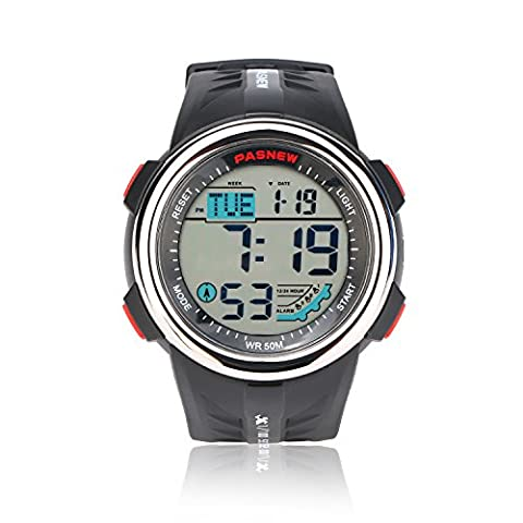 Teenagers Sport Watch | Multifunctional Wrist Clock | Digital Display | 5ATM Waterproof| EL Backlight | Stopwatch | Chronograph | 3 Alarms | Chime | PU Strap for Boys Girls (Multifunctional Watch)