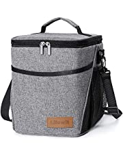 Lifewit 9L 12 Cans Insulated Picnic Lunch Bag with Bottle Holder for Adults/Men/Women/Kids, Water-Resistant Leakproof Soft Cooler Bag Thermal Bento Box for Work/School/Outdoor Activities, Black