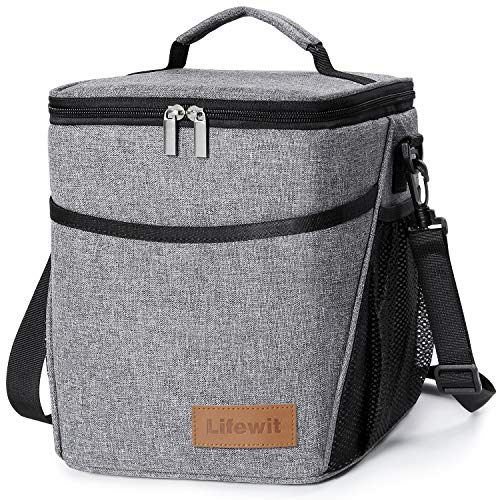 Lifewit Insulated Lunch Box Lunch Bag for Adults Men Women, 9L (12-Can) Soft Cooler Bag, Water-Resistant Leakproof Thermal Bento Bag for Work/School/Picnic, Grey (Adult Male Lunch Boxes)
