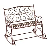 Cheap Collections Etc Outdoor Metal Scroll Double Rocking Chair Garden Bench Porch Patio Deck Glider