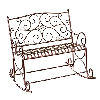 Collections Etc Outdoor Metal Scroll Double Rocking Chair Garden Bench Porch Patio Deck Glider