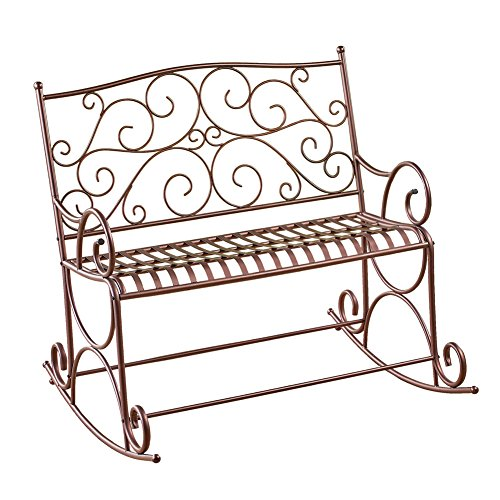 Collections Etc Outdoor Metal Scroll Double Rocking Chair Garden Bench Porch Patio Deck Glider Review