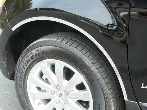 QAA FITS EDGE 2007-2014 FORD (4 Pc: Stainless Steel Wheel Well Accent Trim w/3M Adhesive & Black Rubber Gasket, 4-door, SUV) WQ47610