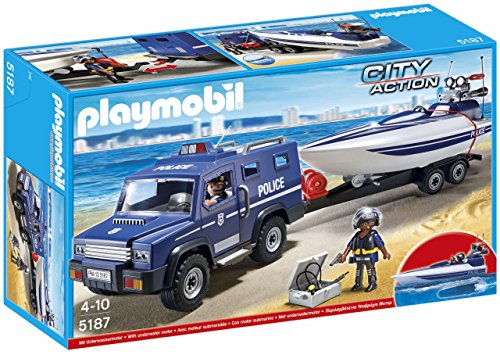 PLAYMOBIL Police Truck with - Officers On Working Christmas Police