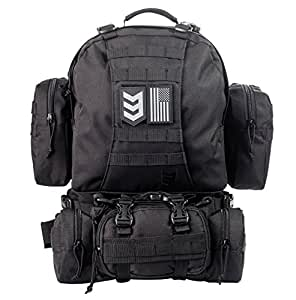 Paratus 3 Day Operator's Pack - Military Style MOLLE Compatible Tactical Backpack (Black)