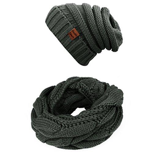 Winter Twist Infinity Scarf Scarves for Women & Men Circle Loop Scarfs Hat Set (Dark Grey)