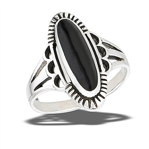 Oval Simulated Black Onyx Oxidized Filigree Ring New .925 Sterling Silver Band Size 10 - Oxidized Black Onyx